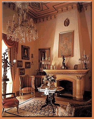 I love elegant, ornate interiors like this. So old-fashioned and gorgeous. I'd feel so cozy and opulent in a room like this.