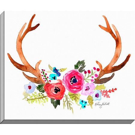 Equally at home in an artful collage or on its own as an eye-catching focal point, this lovely canvas print features a watercolor antler design....