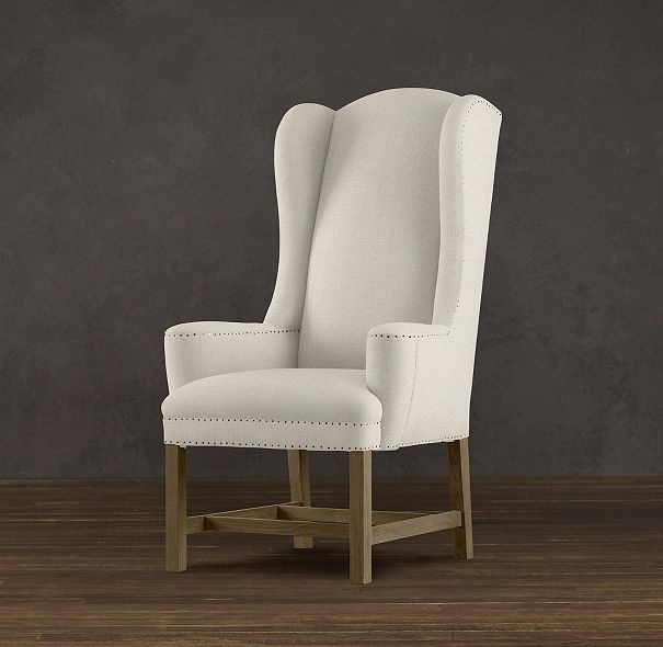 "Belfort dining chair.     DIMENSIONS  Overall: 28""W x 32""D x 49""H  Seat: 18""H  Arm: 23""H  Weight: 53 lbs.  $1150: Upholstered Dining Chairs, Dining Rooms Chairs, Restoration Hardware, Chairs Fabrics, Belfort Wingback, Wingback Upholstered, Products, Wingback Chairs, Side Chairs"