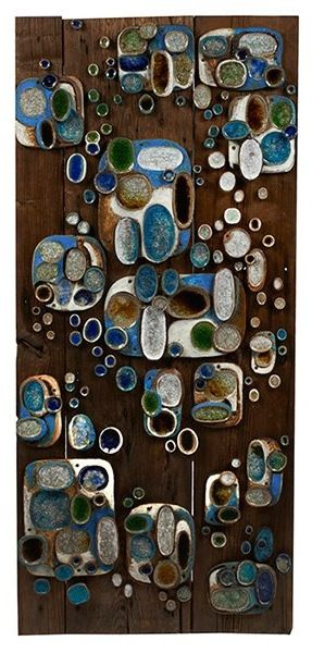Jane Dart; Glazed Ceramic Tiles on Barn Wood, 1964.