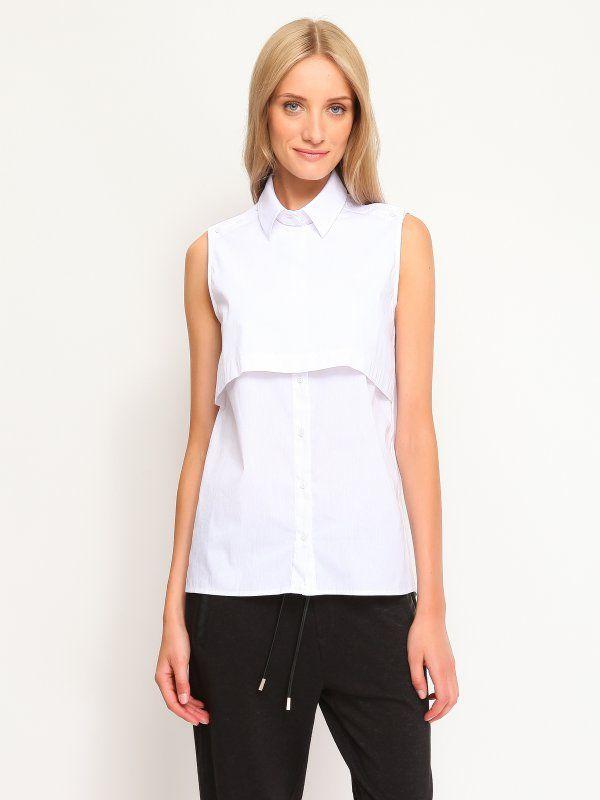 koszula damska bez rękawów damska gładka biała - SKE0011 TOP SECRET