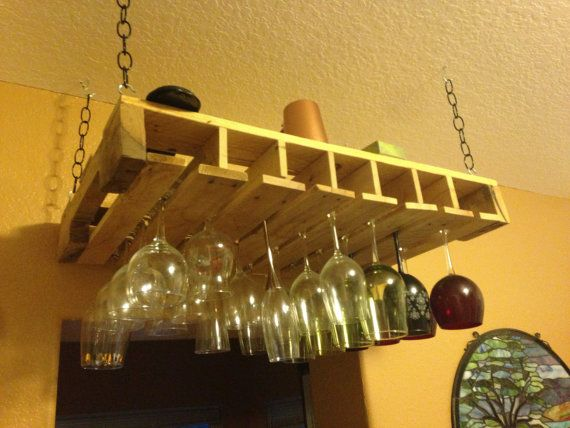 Wooden pallet wine glass rack/ Beach by OwlBeThereDesignsInc