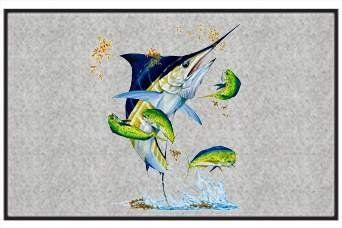 """Busting Grass Marlin with Dorado - Saltwater Fish - Gray - Door and Welcome Mat by Express Yourself Mats. $24.88. Personalization Available (choose above) - EMAIL TEXT TO SELLER AFTER CHECKOUT. Door Mat Size 27""""x18"""". Non-Skid Backing. Made in USA. Great Gift Idea!. Enjoy the Busting Grass Marlin with Dorado design heat pressed on this light-weight, low pile,woven polyester door mat. This decorative welcome mat measures 27 x 18 inches, is 1/8 inch thick and featu..."""