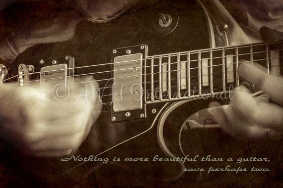 And He Played  Black & White Guitar Print With by AWHinternational, £22.74