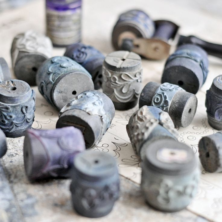 Image of Antique French Roller Stamp & Accessories
