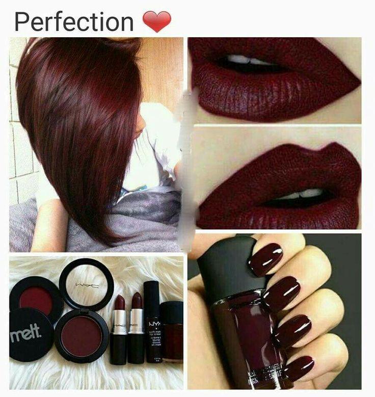 Mac Lipsticks in Diva and Sin; Lipliner Ms. Diva;  Hair Color Garnier Medium Intense Auburn R2