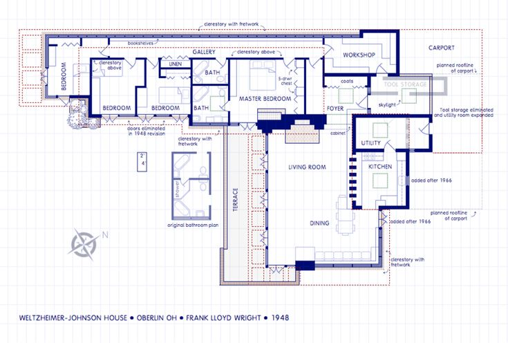 Weltzheimer johnson house oberlin ohio frank lloyd for Frank lloyd wright usonian home plans