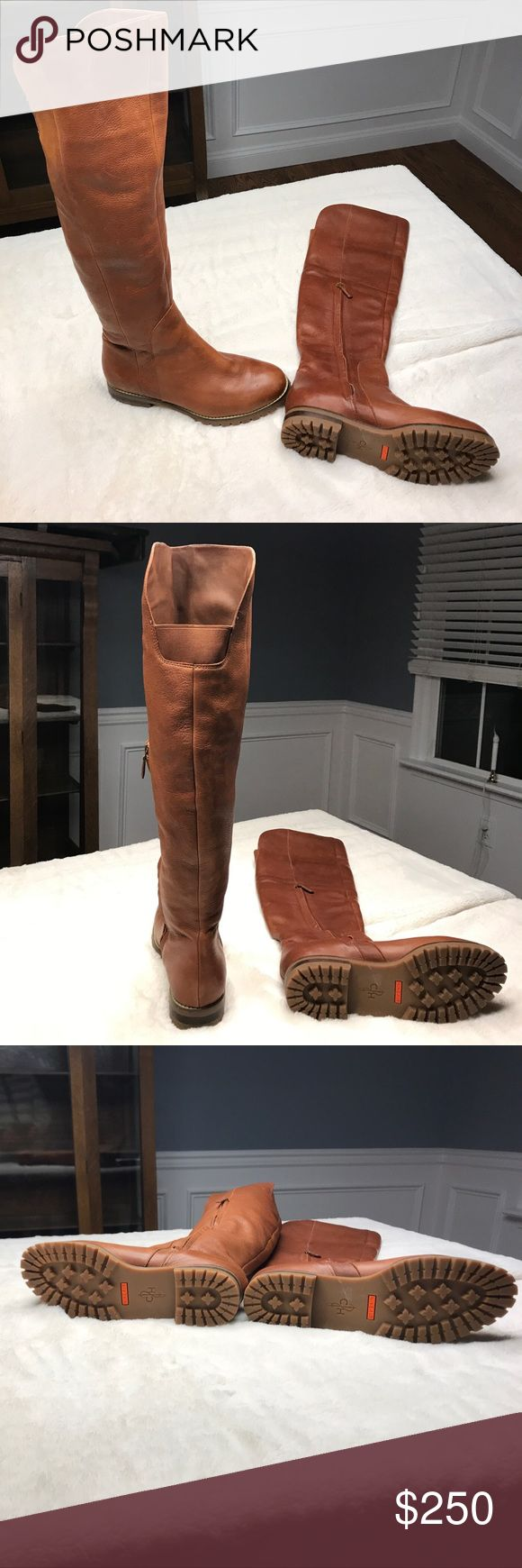 💯%AUTHENTIC COLE HAAN LEATHER BOOTS 💯% AUTHENTIC Brown lamb skin leather over the knee boot with side zip. These boots have the Nike Air rubber lug soles and boots are marked waterproof on the inside. Purchased at the Cole Haan store in NYC. Never worn too tight on my calves. Brand new never worn (see photos of soles ) Comes with dust bag. Size 10 PRICE IS FIRM 😘 Cole Haan Shoes Over the Knee Boots
