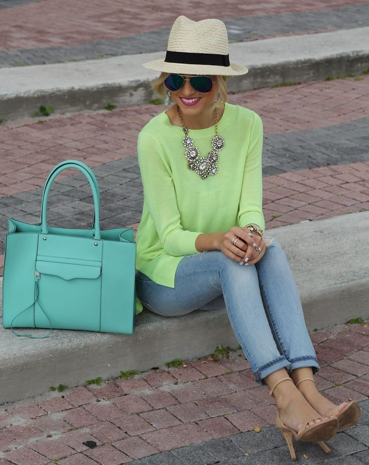 J.crew Neon Yellow Merino Tunic Sweater paired with a Rebecca minkoff handbag by A spoonful of Style