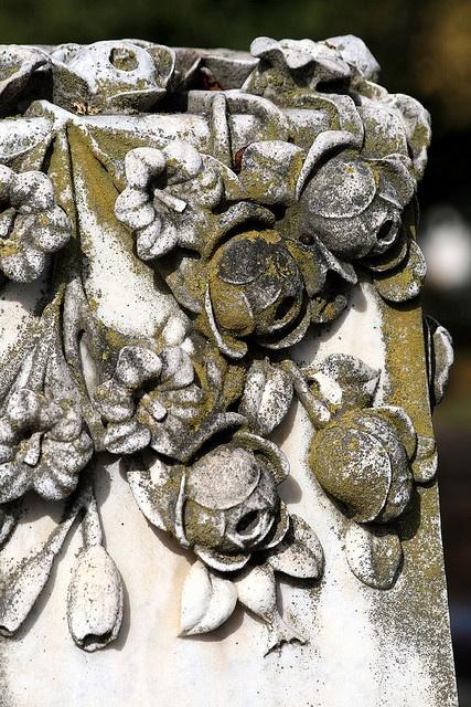 Oakland Cemetery, Atlanta. Flower motif on headstone - Beautiful carving!