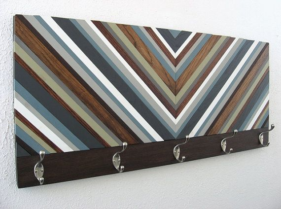 Wood Coat Rack  Chevron Art by ModernRusticArt