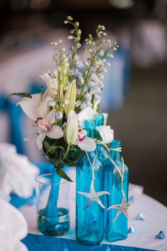 Blue Wedding Beach Center Pieces Beach Wedding Centerpieces
