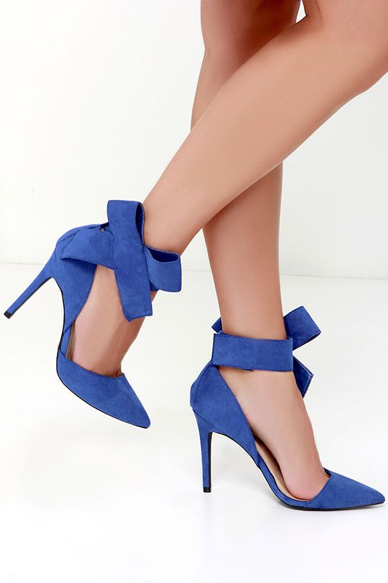 Keep a Bow Profile Royal Blue Suede Bow Heels at Lulus.com!