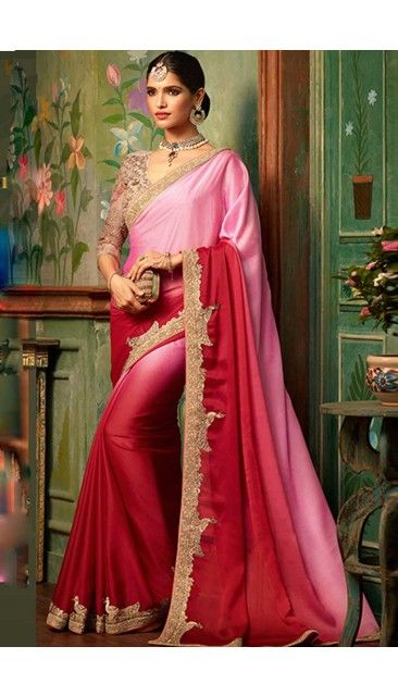 Pink With Paradise Pink Silk Saree With Blouse - DMV12032