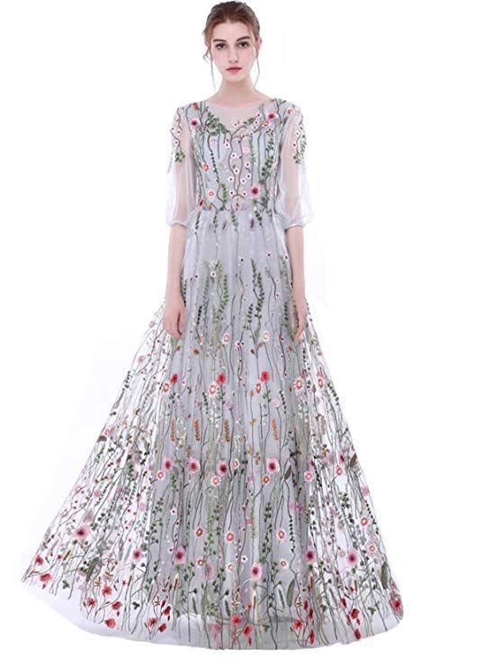 e5ff70d55b6e Dobelove Women s Long Sleeves Floral Embroidery A-line Evening Dress Silver