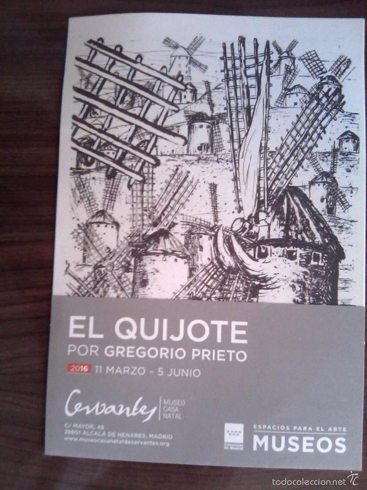 Folleto de la exposicion El Quijote de Gregorio Prieto en la Casa natal de Cervantes en Alcala de He