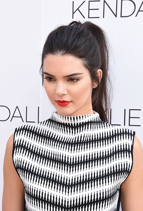 Brides.com: . Kendall Jenner's Classic High Ponytail. Kendall's no-fuss, semi-messy high ponytail is chic and easy to DIY.