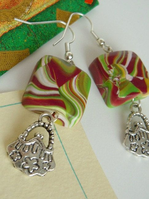 Square marbled earrings polymer clay ooak by valeriatelier for Craft smart polymer clay