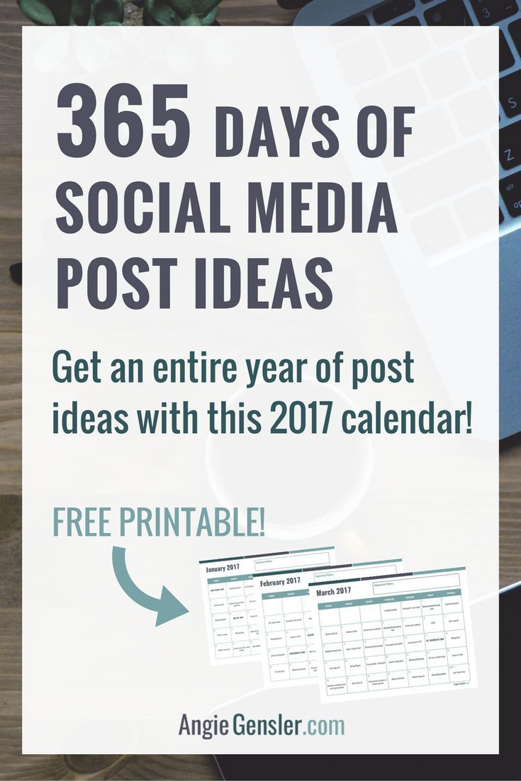 365 days of social media post ideas. Visit http://angiegensler.com/ to download the 2017 social media content calendar - an entire year of social media post ideas, saving you hours of time.
