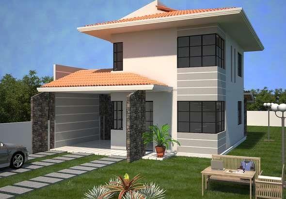 0012 plano de casa moderna 133m2 3 dormitorios y 2 pisos for Planos para mi casa