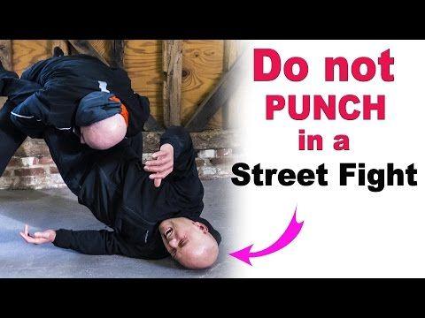 Do not PUNCH in a street fight - avoid leg takedown - YouTube
