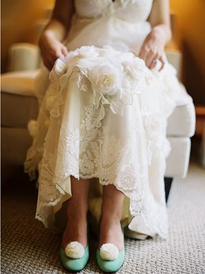 Aqua wedding shoes (Susan Dean)