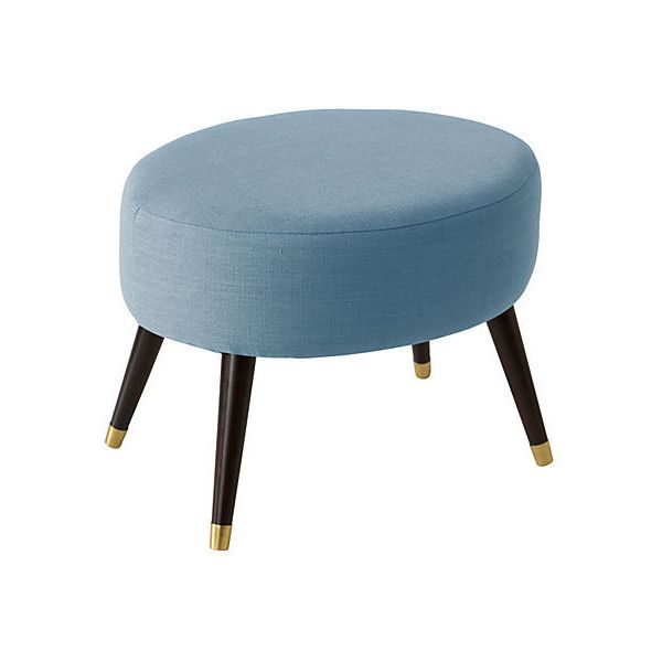 Dani Oval Ottoman Light Blue Ottomans ($265) ❤ liked on Polyvore featuring home, furniture, ottomans, oval ottoman, light blue ottoman, handcrafted furniture, light blue furniture and hand made furniture