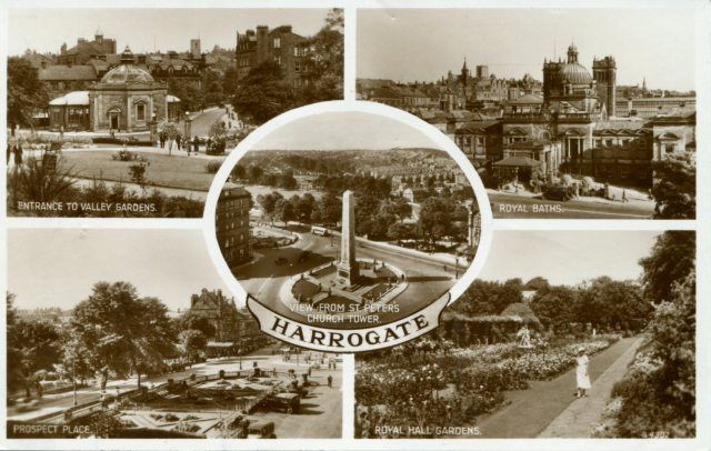 Harrogate is a spa town in North Yorkshire, England. Historically in the West Riding of Yorkshire, the town is a tourist destination and its visitor attractions include its spa waters and RHS Harlow Carr gardens. Nearby is the Yorkshire Dales national park. Harrogate grew out of two existing smaller settlements, High Harrogate and Low Harrogate, in the 17th century. Dated 1955. Publisher: Valentine & Sons Ltd
