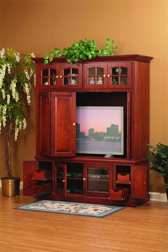 Amish Flat Screen TV Wall Unit Entertainment Center