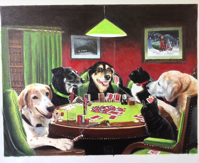 4 Dogs And 2 Cats Playing Poker Based On A Friend In Need 1903 Classic Dogsplayingpoker Dogsplaying Catsp Cat Portraits Animal Paintings Dog Portraits