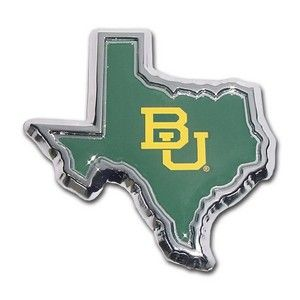 Baylor University Bears Green Texas Shape Chrome Auto Emblem is for the Baylor University or NCAA Baylor Bears sports fan comes in the shape of the state of Texas in solid green with accenting Baylor University mascot logo in yellow.