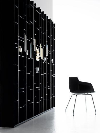 :: FURNITURE :: lovely shelving details Random by MDF Italia. looks handsome in black #bookshelves #MDFItalia #black