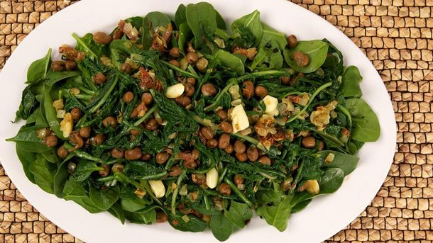 Warm Fava Bean and Dandelion Salad