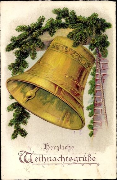 Weihnachtsbilder Tannenzweig.Litho Glückwunsch Weihnachten Glocke Umgeben Von Tannenzweigen