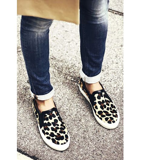 @Alexandra M What Wear - Charlotte of Arty Filles  Style Tip: Pair your animal print slip-ons with cuffed jeans and a camel coat. ​On Charlotte: Sandro sneakers