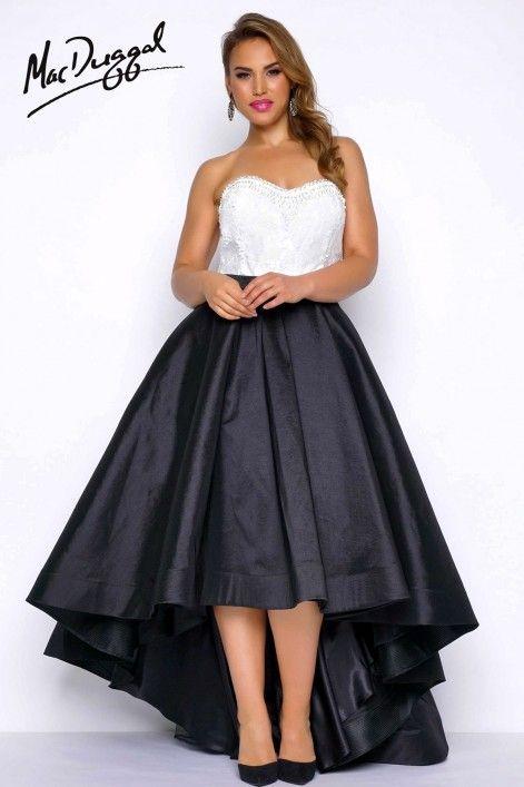 Mac Duggal 77188F Бело-Черное Платье из Тафты