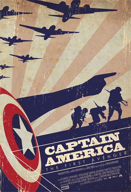 """Captain America - The First Avenger"" by Ollie Boyd.  http://minimalmovieposters.tumblr.com/tagged/captain-america"