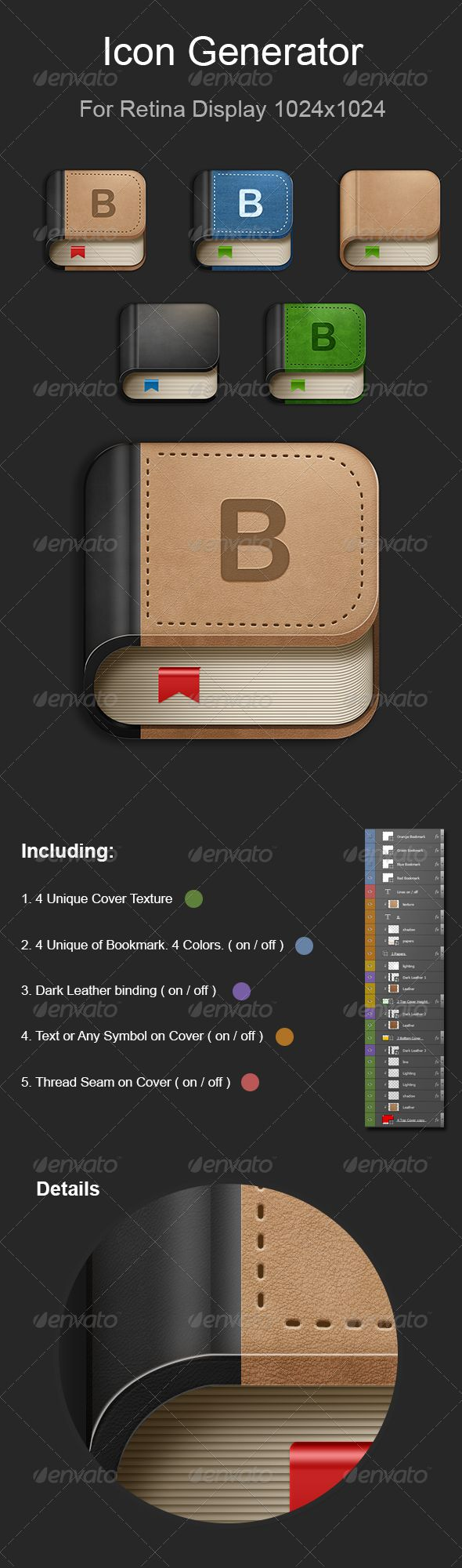 High Quality iOS Retina Book Icon Generator — Photoshop PSD #jeans #leather • Available here → https://graphicriver.net/item/high-quality-ios-retina-book-icon-generator/4466648?ref=pxcr