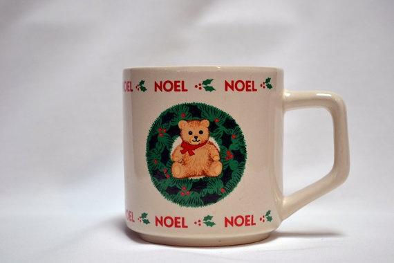 1989 Noel Bear 'N Wreath Christmas Mug. $4.99, via Etsy.  #noel #mug #cup #coffee #wreath #bear #christmas