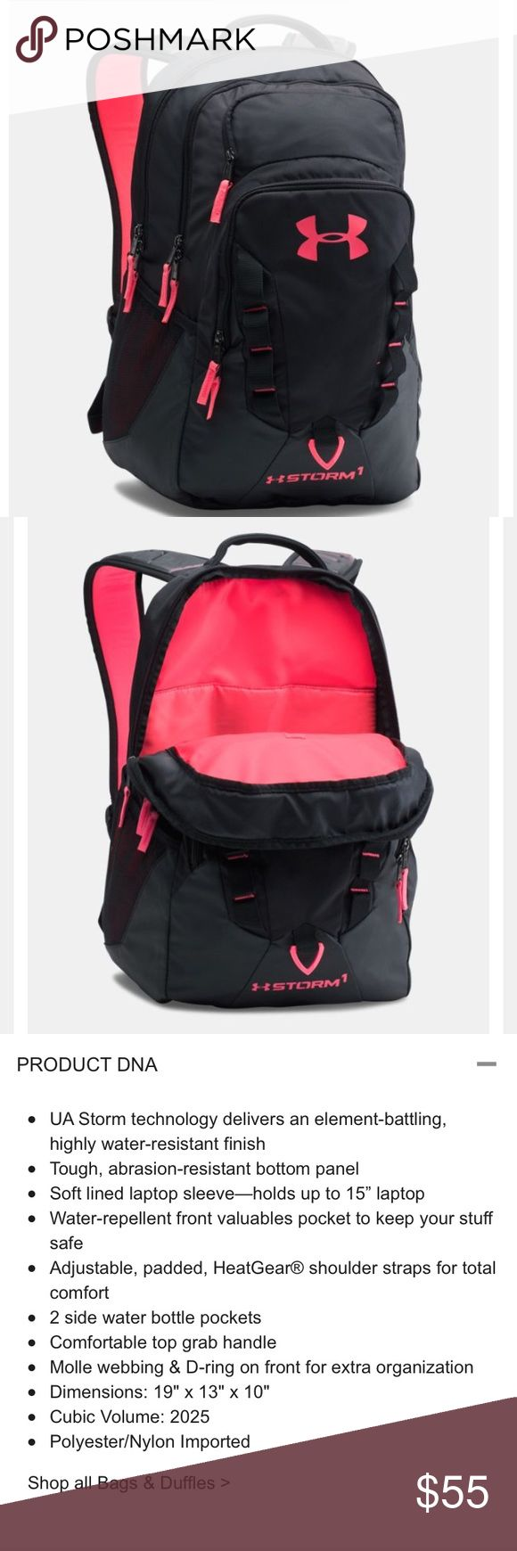 Under Armour Storm Recruit Backpack BRAND NEW WITH TAGS AND IN BAG! FIRM PRICE!!! Black and bright pink Under Armour Backpack.  Super Cute! From a pet and smoke free home. Under Armour Other