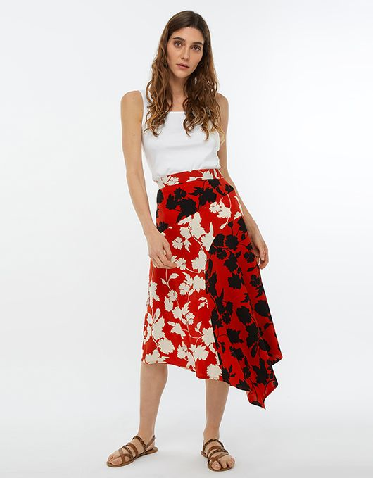 95ad3f62efa026 Penelope Print Midi Skirt | Red | Large | 6453080953 | Monsoon ...
