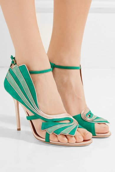 Heel measures approximately 100mm/ 4 inches Emerald and light-green suede, rose gold leather  Buckle-fastening ankle strap Made in Italy