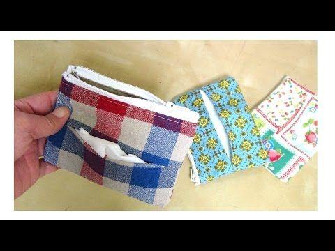 DIYティッシュポーチの作り方 Tissue Pouch Tutorial - YouTube