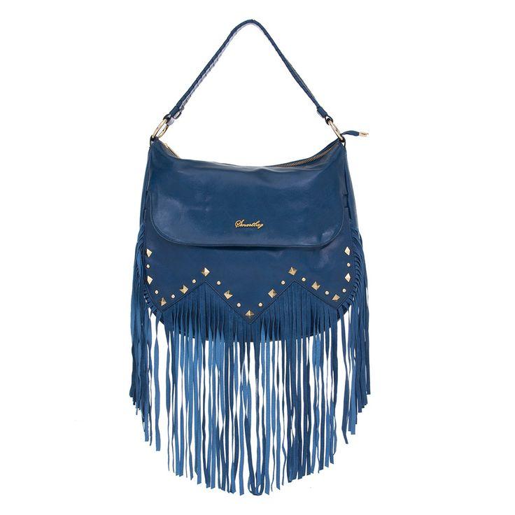Bolsa de Couro Azul Real com Franjas e Spikes Dourados Smartbag - 74073 - bolsas…