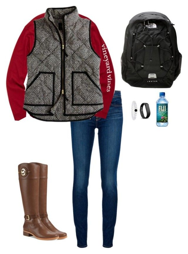 got this vest by emiliaa06 on Polyvore featuring Vineyard Vines, J Brand, Michael Kors, The North Face, Fitbit and J.Crew