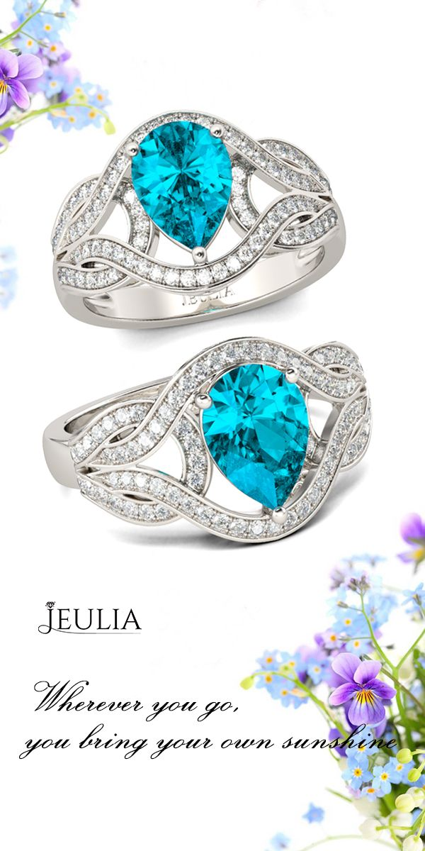 Pear Cut Created Aquamarine Engagement Ring #Jeulia