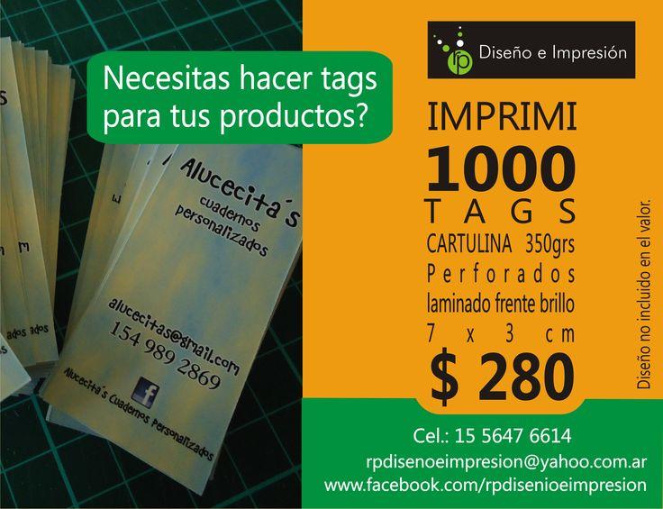 Tags colgantes (cartulina) 7 x 3 cm - Perforados - Impresión full color doble faz x 1.000 unidades.
