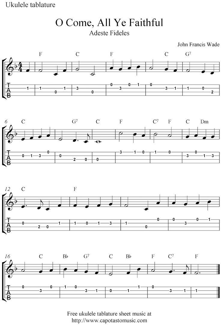 12 best uke images on pinterest christmas music music and books free sheet music scores o come all ye faithful adeste fideles free christmas ukulele tab sheet music hexwebz Choice Image