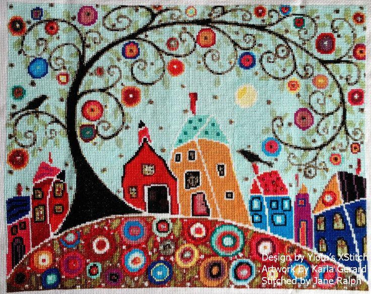 Houses barn birds & swirl tree modern cross stitch | Yiotas XStitch