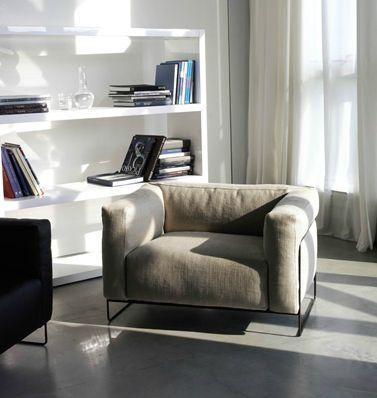 Contemporary armchair / fabric / sled base TWEED Swan Italia